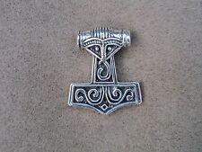 asatru thors hammer ravenhead  viking head sterling silver  nordic  norse pagan