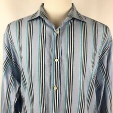 Thomas Dean Mens XXL Blue Navy Green Striped Dress Shirt