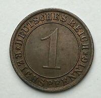 Dated : 1934 A - Germany - 1 Pfennig - Weimar Republic - 1 Reichspfennig Coin