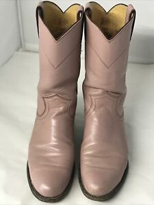 Women's Justin Roper Pink Mauve Color Leather Cowboy Western Boots Size 6B