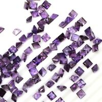 Wholesale Lot 4mm Square Cut Natural African Amethyst Loose Calibrated Gemstone
