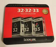 Lexmark 32/32/33 Black/Black/Color Ink Cartridge, Tri-Pack!