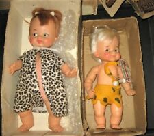 Vintage 1964 Pebbles and Bamm-Bamm  Ideal Toy Flinstones Doll set w boxes 12pics