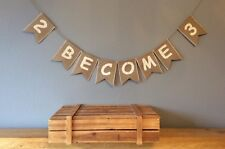 ❤️ Baby Shower 2 Become 3 Bunting Banner. Hessian Burlap❤️