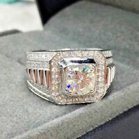Men's 14K Real White Gold Engagement Wedding Band Ring Round Cut 2.00 Ct Diamond