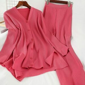 Winter Knitted Two Piece Set V-neck Long Sleeve Loose Blouse And Knit Pant