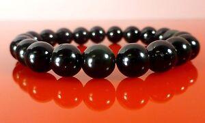 Chakra Bracelet Tourmaline Onyx Obsidian 10mm