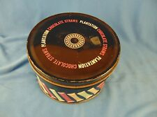 "Candy tin Plantation Chocolate Straws 3 1/2"" h x 6"" across advertising vintage"