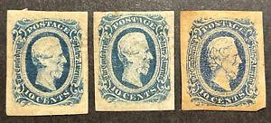 TDStamps: US Confederate States CSA Scott#12 (2) 11 Mint H OG Thin #11 Pinhole