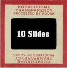 10 RED BORDER SLIDES OF SCENIC VIEWS, LANDSCAPES, BLDGS, PARKS ETC.(406)