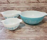 Set of 3 Pyrex Turquoise Amish Butterprint Cinderella Mixing Bowls