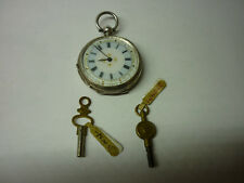 Sterling Silver Ladies Pocket Watch With Keys - WORKING