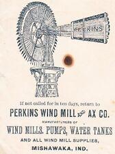 Perkins Wind Mill & Ax Pumps Water Tanks Mishiwaka IN 1888 Cover 2q