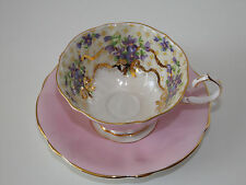 Older QUEEN ANNE England GOLD, PINK and Purple Tea Cup and Saucer Wide Teacup