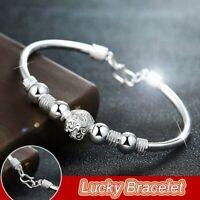 925 Silver Lucky Beads Cuff Charm Bracelet Women Adjustable Bangle Jewelry Gift