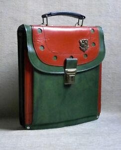 GREEN - RED School Book Bag New Made in Greece Greek VTG RARE Plastic Briefcase