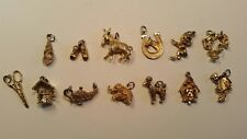 Charm pendants, vintage OBCO and others, 13 total w elephant, donkey, genie lamp