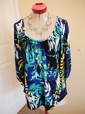 FLORAL PRINT White Royal Blue KAFTAN TOP Size L 16 BNWT NEW Green Leaf Black
