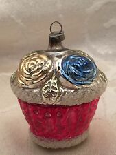 """Vintage Antique Basket Flowers Christmas Ornament Germany 2"""" Feather Tree Size"""