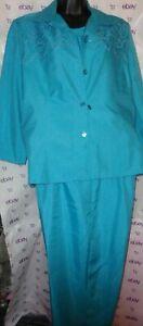 $140 A.K.E. embroidery jacket cami slacks set size 10P side zip pleat capri pant