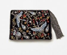 ZARA EMBROIDERED BEADED CLUTCH BAG