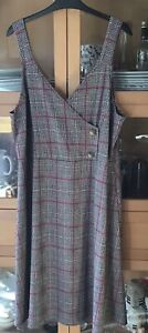 Ladies Size 22 Vintage Style YOURS Pink checked Cross Over Pinafore Dress VGC