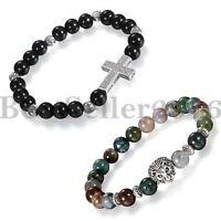 2er Cross handgemachte Achat Lion Head Damen Herren 8mm Perlen Buddha Armband
