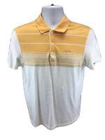 Calvin Klein Men's Orange/White Striped Short Sleeve Polo Shirt Sz S