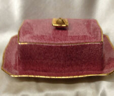 ROYAL WINTON GRIMWADES 5333 COVERED BUTTER DISH MOTTLED DARK PINK GOLD TRIM