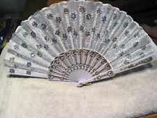 FAN ( SMALL HAND TYPE FAN ) WITH FLOWERS FLOWER SEQUINS  WHITE RM2D