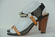 Maje Italy Womens 40 / 9 Black & Tan Leather Classic Strappy Chain Heels NICE!!