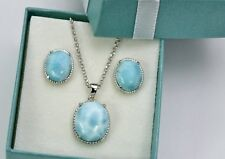 Larimar Natural Classic Stud Earrings And Necklace Set. .925 Sterling Silver
