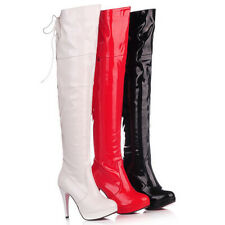 New Womens Ladies Thigh High Over The Knee High Heel Stretch Boots Sizes UK 2-8
