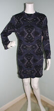 NWT Womens Free People Blue Print Long Sleeve Bodycon Cut Out Dress Sz L Large