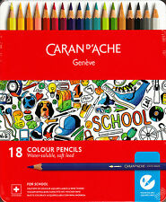 Caran d'Ache SCHOOL LINE 18 Matite Colorate Acquerellabili Soft Scatola Metallo