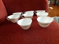 Set of 8 Vintage CORELLE BUTTERFLY GOLD Hook Handle Stackable Coffee / Tea Cups