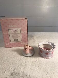 Enesco Gina's Round Covered Jewelry Box W/Necklace Ballerina Shoes NIB