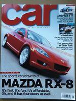 Car Magazine - January 2003 - Mazda RX-8  Golf R32  Alfa 147 GTA. Focus RS