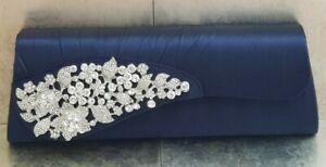 Navy Blue Sparkly Jewel Diamante Front Flap Prom Wedding Clutch Handbag Bag 78