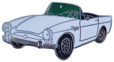 Sunbeam TIGER car cut out lapel pin - White