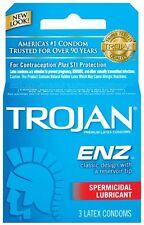 Trojan-Enz Condoms Spermicidal Lubricated Latex 3 ct each-- PACK OF 3