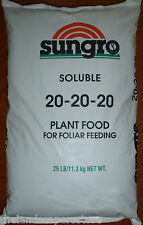 Sungro Souluble Plant Food 20 20 20 25lb Guaranteed Analysis (Gen.) Jack's