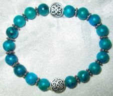 Bracelet Chinese Knot Bangle Silver Charm Blue Green Jasper Yoga Stretch Jewelry