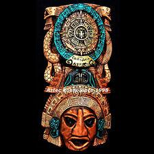 Mayan Mask Head Wall Plaque Aztec Mexico Sculpture Statue Ancient Art Calendar