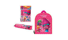 DREAMWORKS TROLLS CHILDRENS LED BACKPACK + WRITING SET & PENCIL CASE