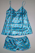 JONATHAN MARTIN SATIN PAJAMAS PJ SLEEP SET TANK CAMI SHORTS S SMALL BLUE PINK