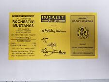 Rochester Mustangs 1986/87 USHL Minor Hockey Pocket Schedule - Royalty Suites (R