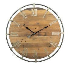 Rustic Barn Farmhouse Wooden Roman Numeral Wall Clock Metal Frame