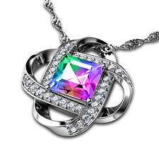 "Secret Love 925 Silver Necklace Rainbow 100%25 Swarovski® Branded Crystal DEPHINI�""�"