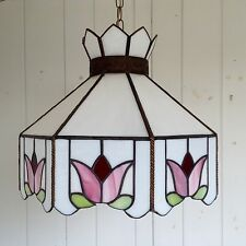 """18"""" Stained Glass Swag or Ceiling Light Fixture Pink Green White Tiffany Style"""